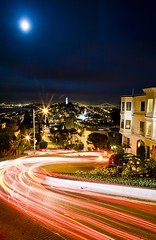 Approximate (Thomas Hawk) Tags: sanfrancisco california road city usa moon cars night buildings lights san francisco unitedstates fav50 10 unitedstatesofamerica scene fav20 coittower fav30 zigzag russianhill brakelights lombardstreet fav10 fav25 fav40 fav60 fav80 fav70 superfave