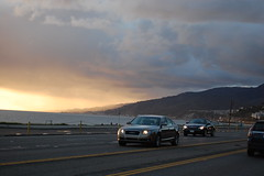 Sunset and rain at Malibu (stefanopicco825) Tags: ocean trees sunset sun rain yellow malibu palm audi s8 evning
