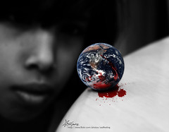 "my EARTH is bleeding (""Anwaar) Tags: poverty red bw white black color art girl canon table idea is photo kid blood child sad earth watching creative planet wars feeling kuwait bleeding tough q8 polution sadfeeling 400d absorving kuwaitigraphicdesigner"