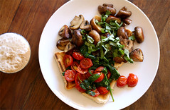 Breakfast Sunday (poppalina) Tags: food brown coffee breakfast cherry mushrooms swiss toast tomatoes sunday basil spinach shula poppalina
