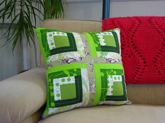 green log cabin pillow (BrianinLR) Tags: pink brown green quilt handmade tan craft monochromatic pillow fabric pineapple afghan quilted apples grannysmith parsley toile logcabinquilt logcain beigesofa