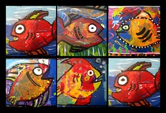more fish. (artsy_T) Tags: blue red orange fish abstract fun acrylic paintings funky canvas artshow fundraiser picnik cartoony collarborationpieces