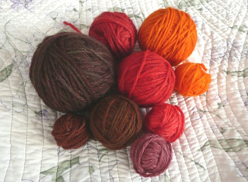 Red, Orange, and Brown Wool Yarn