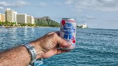 Sunshine, Sea, & Beer (Oliver Leveritt) Tags: diamondhead beer pabstblueribbon nikond7100 afsdxvrnikkor18200mmf3556gifed oliverleverittphotography hawaii oahu waikiki waikikibeach water shoreline ocean