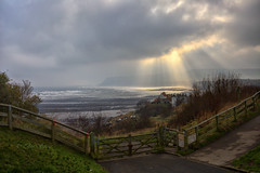 Rays into the Bay (Through Bri`s Lens) Tags: northyorkshire robinhoodsbay sunrays clouds seashore rocky village brianspicer canon5dmk3 canon1635f4