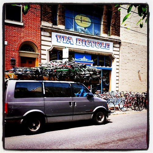 via cycle - roof full of bikes