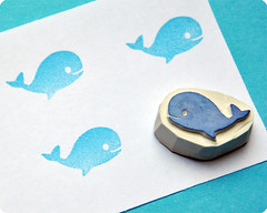 Whale hand carved rubber stamp