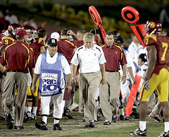 Pete Carroll on the sidelines as USC is about to lose to Stanford 24-23