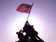 Iwo Jima Memorial 2 (kenpuls) Tags: usa silhouette statue photoshop memorial florida flag patriotic iwojima capecoral