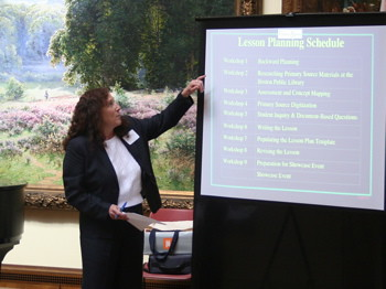 Molly Laden presents lesson planning workshop overview