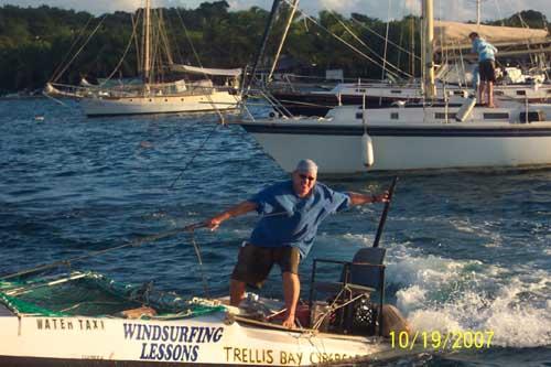 Jeremy on his catamaran in Trellis Bay, British Virgin Islands