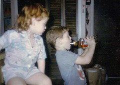 my brother alan teaching me how to drink.