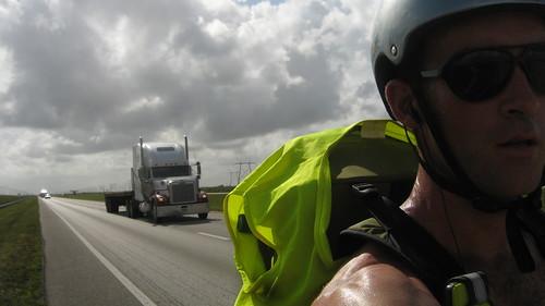 Mega hot day on Highway 27 between Hialeah Gardens and South Bay, Florida, USA