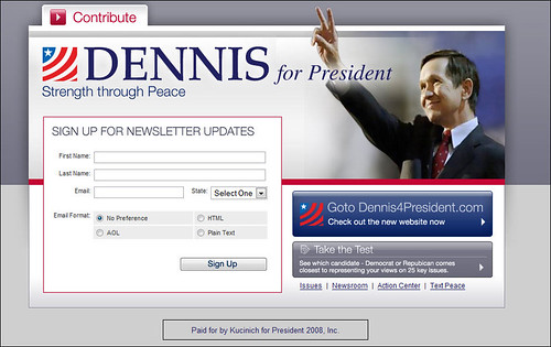Dennis Kucinich Splash Page