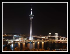 Macau Tower and Sai Van Bridge (RicZaf) Tags: night nikon macau 18200vr d80 mywinners platinumphoto aplusphoto diamondclassphotographer goldstaraward