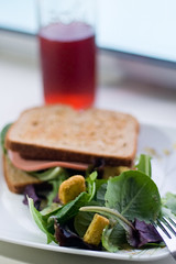 baby romaine salad & bologna sandwich (dorotron) Tags: food salad yummy juice sandwich dressing cranberry bologna mf romaine 50mmf18 dorotron
