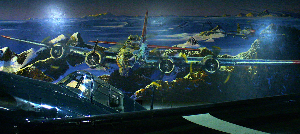 """Century of Flight"" mural created by Rick Herter and assistant Tony Hendrick"