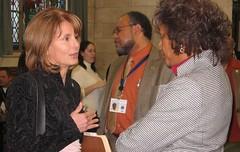 Chairwoman Buono greets Senator Cunningham