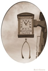 The Old Shippams Clock (Pyogenes Gruffer) Tags: chicken clock sepia turkey chichester wishbone flickrgolfclub