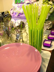 Green straws & Purple plates