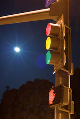 Moon and Stoplight (Gnerk) Tags: california ca blue light red sky moon tree green sign yellow night dark hand walk stop dontwalk stoplight redwoodcity