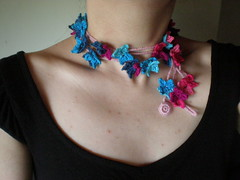 Viola Freeform crochet scarflette necklace (irregular expressions) Tags: pink blue art scarf necklace colorful handmade crochet expressions jewelry accessories lariat etsy fiber irregular freeform scarflette irregularexpressions