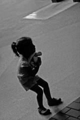 (Nick Hagen) Tags: blackandwhite bw girl silhouette turtle grain stuffedanimal hiding crouch unsharp crocs clutching sharpening