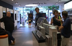 Orange phone store customers