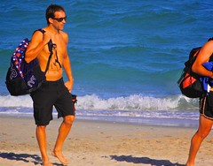 Where to Now? (LarryJay99 ) Tags: dude beach capes urbanbackpacking urban barfuss pedestrian dudes guys nape backpacks backs people sunglasses couple profiles sexyguy clogs peekingpits toes urbanbackpackers tattoos ocean candid man lakeworthbeach tatts shirtless nipples legs ilobsteritflickr shoreline footwear feet men navels lakeworthbeachlakeworth lakeworth handsome male blue seascape canon60d guy unsuspecting flickr barefoot canonef70300mmf456isusm