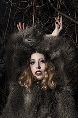 Day as Night (Keiran Foster) Tags: girl model face eyes pose night strobes life lips makeup fashion fur fauxfur photography studio location canon canon80d nature outdoor portrait portraiture faces people female