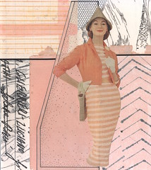 apricot warrior (kurberry) Tags: collage cutandpaste analoguecollage vintageephemera tracingpaper monoprintedtissuepaper apricot striped