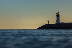fisherman and bird (Marc McDermott) Tags: person man fisherman bird water lake silhouette evening canada ontario low perspective marc mcdermott lighthouse sky