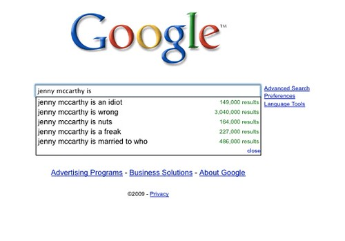 Google suggests that Jenny McCarthy is...