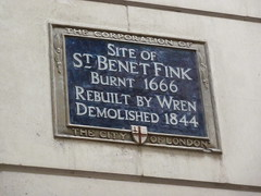 Photo of St. Benet Fink and Christopher Wren blue plaque