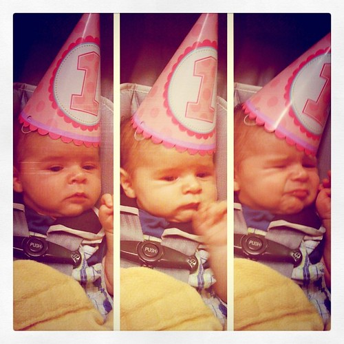 At Layla's party. I don't think he cared for the hat.
