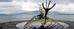 Reykjavik (Jochen Duerr) Tags: ocean panorama sculpture west water landscape iceland reykjavik