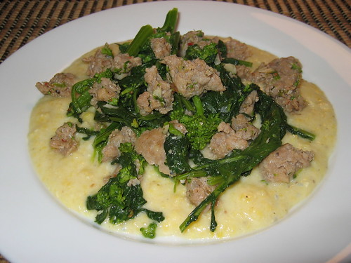 Suasage and Rapini on Gorgonzola Polenta