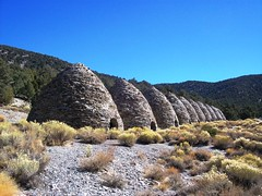 Wildrose Charcoal Kilns, a line of beehive ove...