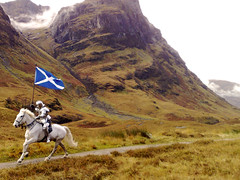 Glencoe Knight (Nick Aiton) Tags: horse white film sisters 35mm wow scotland three highlands flag ad suit commercial advert knight glencoe filming armour saltire a82