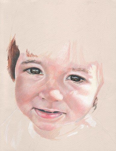 An in-progress colored pencil piece entitled Clara at 17 Months