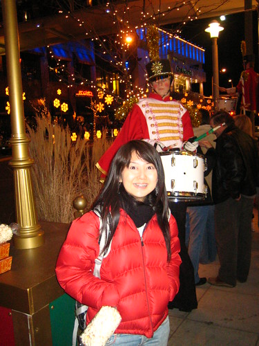 in front of a Snowflake Lane drummer boy