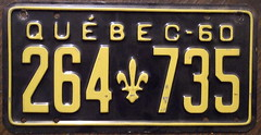 QUEBEC 1960 license plate (woody1778a) Tags: wo