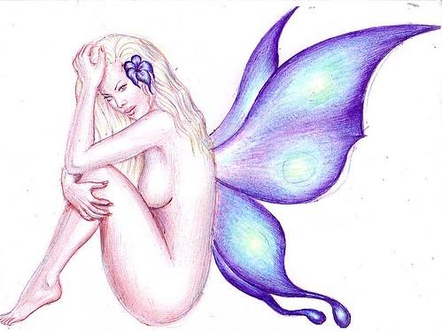 Femeie cu aripi de fluture, desen in pix