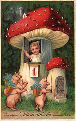 Happy new year - Frohes neues Jahr (*Pppilottchen aka dollily*) Tags: red white rot mushroom vintage child alt postcard kind pigs toadstool wei happynewyear fliegenpilz flyagaric postkarte schweine frohesneuesjahr glckspilz neujahrsgre luckybeggar rotmitweienpunkten