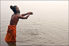 Arghya - Varanasi (Elishams) Tags: city india water river traditional faith religion pray culture holy devotion offering varanasi yogi tradition hinduism ganga sadhu ganges maa benares northindia gange uttarpradesh  arghya globalspirit indedunord nagababa anawesomeshot theindiatree aasnan ajaadpuri