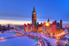 Parliament Buildings, Ottawa (Joel Bedford) Tags: christmas winter toronto cold color photoshop festive bedford lights design photo nikon holidays joel ottawa politics hill parliament processing d200 decor jab soe hdr senate lightroom treatment parliamentbuildings houseofcommons photomatix