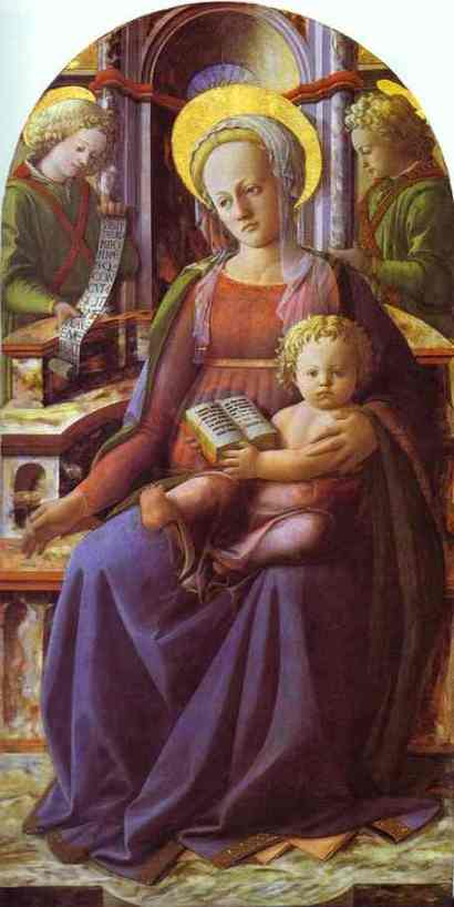 LIPPI, Fra Filippo Madonna and Child Enthroned with Two Angels c1437