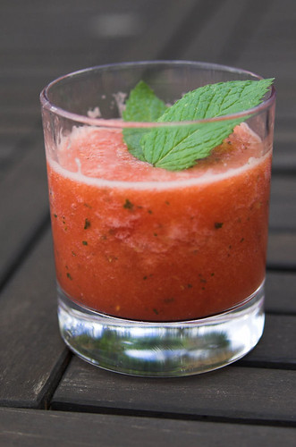 Watermelon and ginger vodka slushie