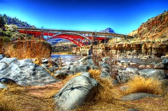 Salt River Canyon Bridges, Arizona (Thad Roan - Bridgepix) Tags: bridge arizona desert bridges canyon saltriver hdr photomatix 200603 apachebridge