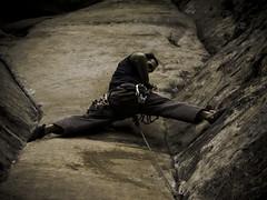 Real men climb trad... (mike.palic) Tags: rock gear climbing lead trad rrg